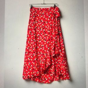Anthropologie Faithfull Floral Red Wrap Skirt